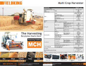 FIELDKING Multi Crop Harvester Specs
